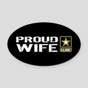 U.S. Army: Proud Wife (Black) Oval Car Magnet