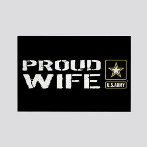 U.S. Army: Proud Wife (Black) Rectangle Magnet