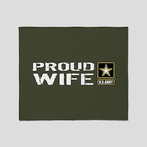 U.S. Army: Proud Wife (Military Gree Throw Blanket