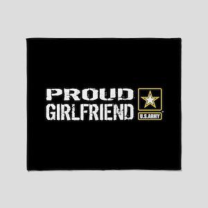 U.S. Army: Proud Girlfriend (Black) Throw Blanket