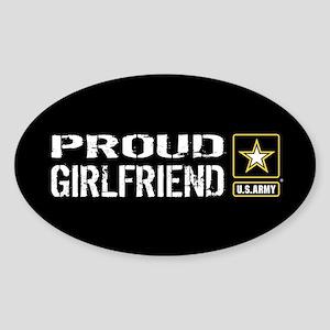U.S. Army: Proud Girlfriend (Black) Sticker (Oval)
