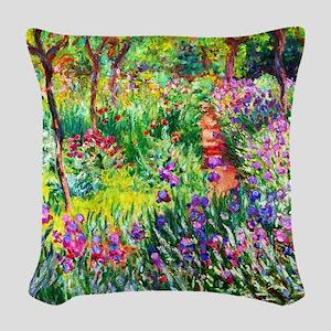 Iris Garden at Giverny Monet Woven Throw Pillow