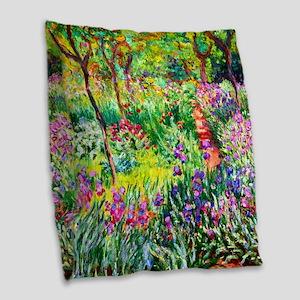 Iris Garden at Giverny Monet Burlap Throw Pillow