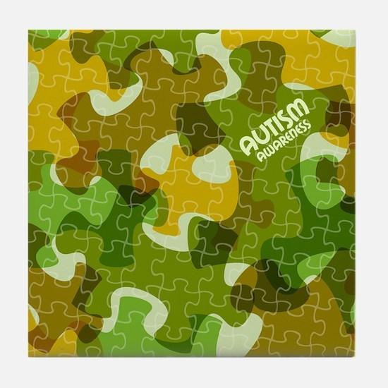 Autism Awareness Puzzles Camo Tile Coaster