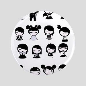 Chibi Emo Goth Button
