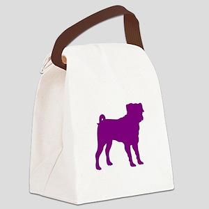 Pug Purple 1C Canvas Lunch Bag