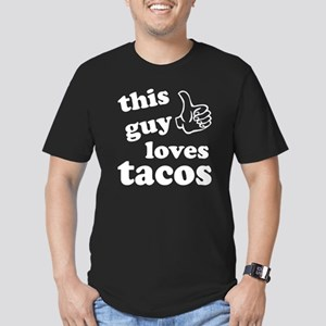 This guy loves tacos Men's Fitted T-Shirt (dark)