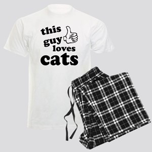 This guy loves cats Men's Light Pajamas