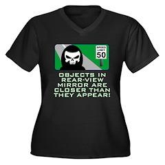 Grim View Women's Plus Size V-Neck Dark T-Shirt