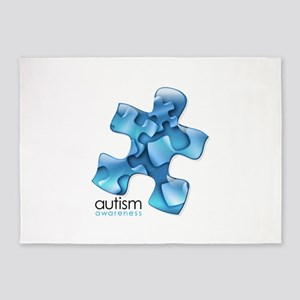 puzzle-v2-blue 5'x7'Area Rug