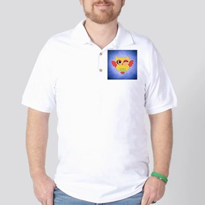 Adorable Winking Red and Yellow Owl   N Golf Shirt