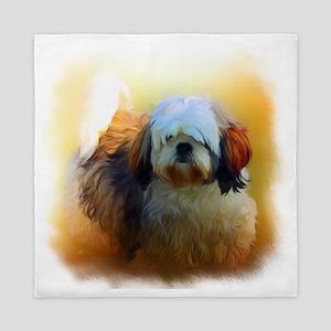 Shih Tzu Dog Portrait Queen Duvet
