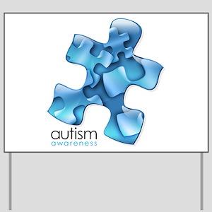 Autism Awareness Blue Puzzle Pieces Yard Sign