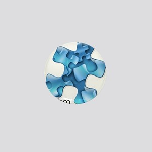 Autism Awareness Blue Puzzle Pieces Mini Button