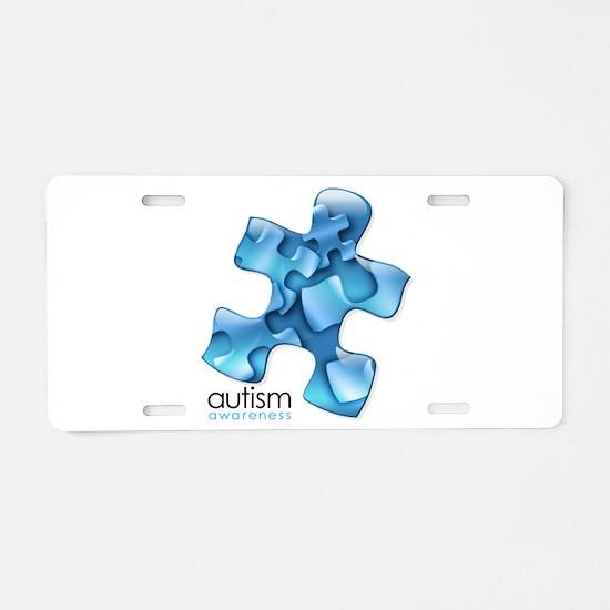 Autism Awareness Blue Puzzl Aluminum License Plate