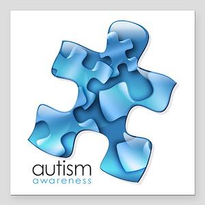 """Autism Awareness Blue Pu Square Car Magnet 3"""" x 3"""""""