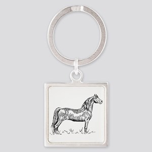 Morgan Horse In Pen & Ink Square Keychains