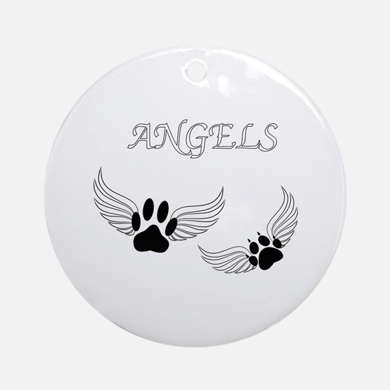 Angel Pet Paws Round Ornament