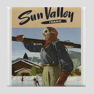 Vintage poster - Sun Valley Tile Coaster