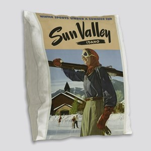 Vintage poster - Sun Valley Burlap Throw Pillow