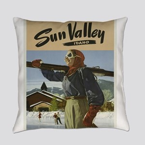 Vintage poster - Sun Valley Everyday Pillow