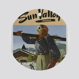 Vintage poster - Sun Valley Round Ornament