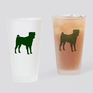 Pug Green 1C Drinking Glass