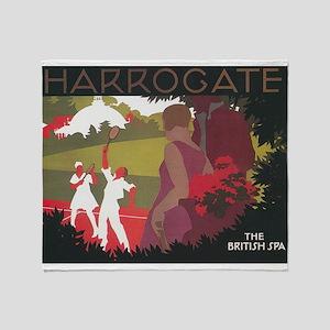 Harrogate, England; Vintage Travel P Throw Blanket