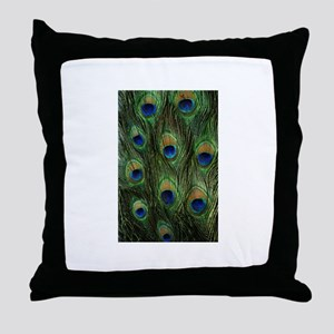 Peacock feathers on a Throw Pillow