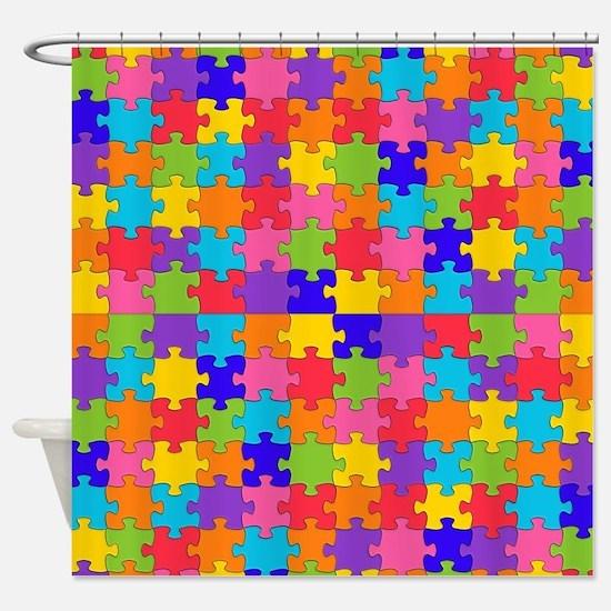 autism puzzle Shower Curtain