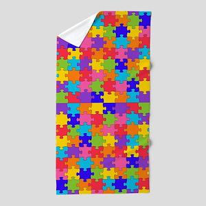 autism puzzle Beach Towel