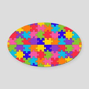 autism puzzle Oval Car Magnet