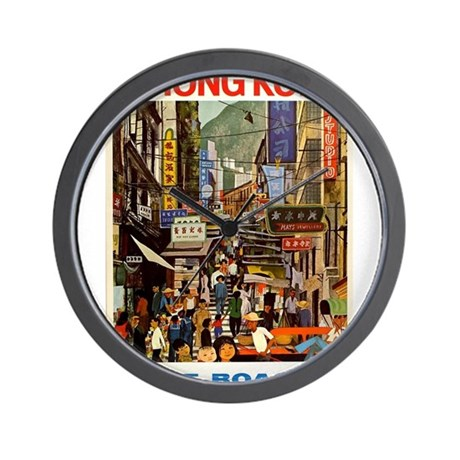Vintage Poster Hong Kong Wall Clock By Admin Cp133566480