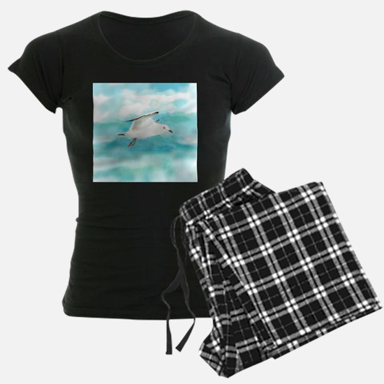 Watercolor Seagull Bird in Rain at Leke pajamas