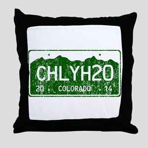 Chilly Water Colorado License Plate D Throw Pillow