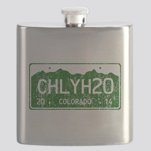 Chilly Water Colorado License Plate DISTRESS Flask
