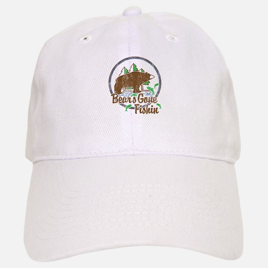 Bears Gone Fishin' DISTRESSED Baseball Baseball Cap
