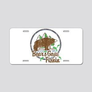 Bears Gone Fishin' DISTRESS Aluminum License Plate