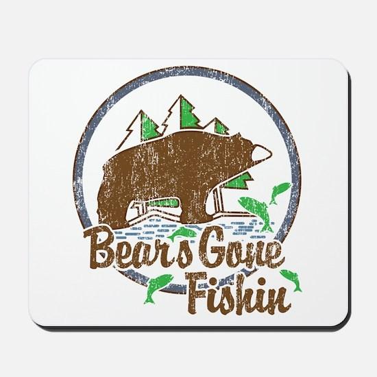 Bears Gone Fishin' DISTRESSED Mousepad