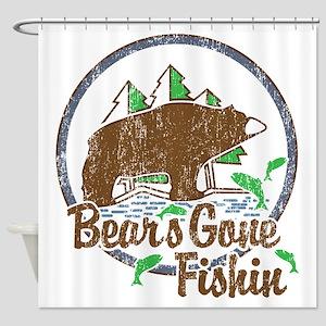 Bears Gone Fishin' DISTRESSED Shower Curtain