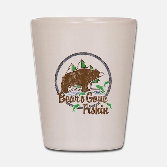 Bears Gone Fishin' DISTRESSED Shot Glass