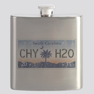 Chilly Water SC License Plate DISTRESSED Flask