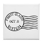 First Class Witch Halloween Tile Coaster