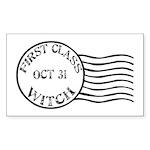 First Class Witch Halloween Rectangle Sticker