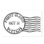 First Class Witch Halloween Postcards (Package of