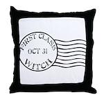 First Class Witch Halloween Throw Pillow