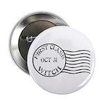 First Class Witch Halloween Button