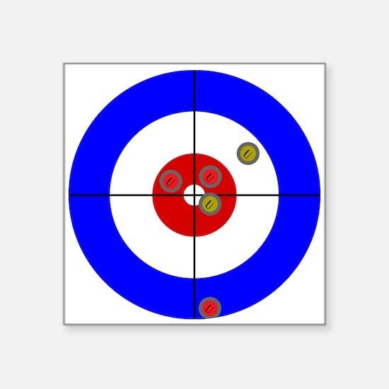 "Cute Curling stones Square Sticker 3"" x 3"""