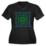 Sanibel Sea Women's Plus Size V-Neck Dark T-Shirt