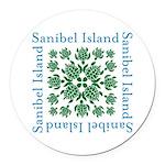 Sanibel Sea Turtle - Round Car Magnet